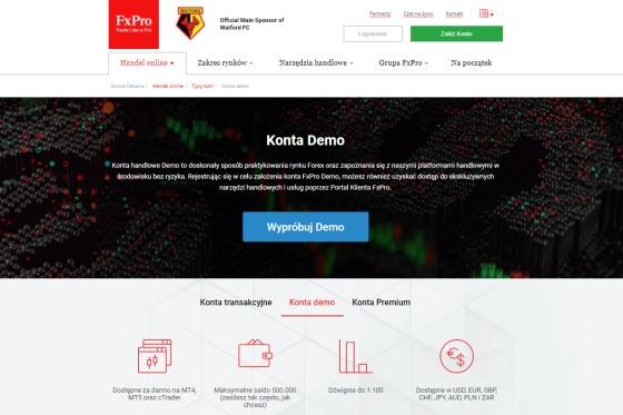 Konto forex demo w FxPro